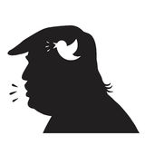 Donald Trump Silhouette and Social Media Update Icon. Vector Illustration Stock Images