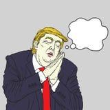 Donald Trump Sleeping. Vector Cartoon Caricature Portrait. November 21, 2017 royalty free illustration
