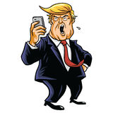 Donald Trump and Social Media. Using Mobile Phone. Vector Cartoon Stock Photography
