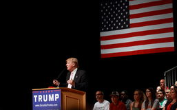 Donald Trump speaks at campaign rally on July, 25, 2015, in Oskaloosa, Iowa royalty free stock photos