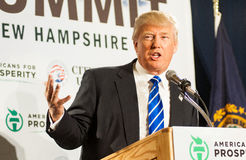 Donald Trump speaks in New Hampmshire. Stock Photo
