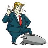 Donald Trump Standing en el misil nuclear Ilustración del vector de la historieta 12 de julio de 2017 ilustración del vector