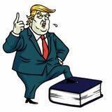 Donald Trump Standing op Grondwetsboek Vector beeldverhaalillustratie 13 juli, 2017 Stock Afbeeldingen