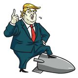 Donald Trump Standing op Kernraket De vectorillustratie van het beeldverhaal 12 juli, 2017 Royalty-vrije Stock Foto's