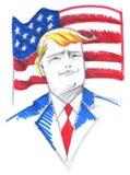 Donald Trump stående med USA-flaggan Royaltyfria Bilder