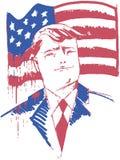 Donald Trump stående med USA som blöder flaggan Royaltyfria Foton