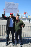 Donald Trump supporters protest against presidential candidate Bernie Sanders during his rally at iconic Coney Island boardwalk Stock Photos