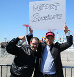 Donald Trump supporters protest against presidential candidate Bernie Sanders during his rally at iconic Coney Island boardwalk Stock Photo