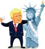 Donald Trump Taking een Selfie met het Standbeeld van Vrijheid stock afbeeldingen