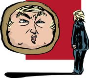 Donald Trump Talking till honom i spegel stock illustrationer