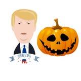 Donald Trump tegen Halloween-pompoen Royalty-vrije Stock Foto's