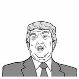 Donald Trump, 45th President of United States of America, Black And White Vector Design Illustration. Donald Trump, 45th President of United States of America vector illustration