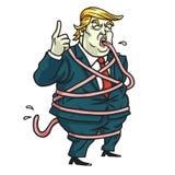 Donald Trump Tongue Tied Cartoon Ilustração do vetor 5 de maio de 2017 Imagens de Stock Royalty Free