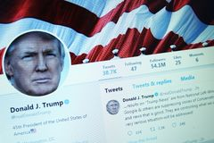 Donald Trump twitter. Twitter profile of President of United States of America Donald Trump on computer screen stock image