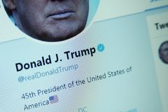 Donald Trump twitter. Twitter profile of President of United States of America Donald Trump on computer screen royalty free stock image