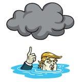 Donald Trump Under la niebla con humo de la nube negra Ilustración del vector de la historieta 13 de junio de 2017