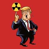 Donald Trump Vector con símbolos nucleares de la muestra 28 de marzo de 2017 Imagen de archivo libre de regalías