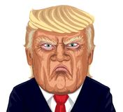 Donald Trump Vector Illustration Caricature Portrait. Portrait of American President Donald Trump looking angry or annoyed and frowning, Vector Illustration vector illustration
