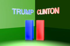 Donald Trump versus Hillary Clinton De Verkiezing 2016 van de V.S. Stock Foto