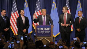 Donald Trump victory speech following big win in Nevada caucus, Las Vegas, NV Stock Image
