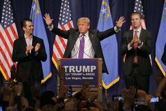 Donald Trump victory speech following big win in Nevada caucus, Las Vegas, NV Stock Photo