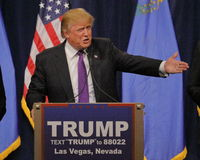 Donald Trump victory speech following big win in Nevada caucus, Las Vegas, NV Stock Photography