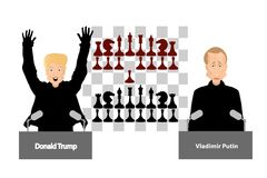 Donald Trump and Vladimir Putin. Confrontation. Russia and America. Illustration, vector for your design. editorial Stock Photo