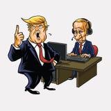 Donald Trump And Vladimir Putin in Front of His Computer. Vector Cartoon Royalty Free Stock Image