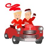 Donald Trump and Vladimir Putin in. The image of Santa Claus. vector illustration for your design. santa by car Stock Image