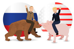 Donald Trump and Vladimir Putin are riding. A pig and a bear. Against the background of the American and Russian flag. Illustration for your design. President Stock Photos