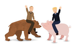 Donald Trump and Vladimir Putin are riding a pig. And a bear. On white background. Illustration for your design. President of the United States and Russia Stock Image