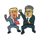 Donald Trump Vs Kim-de jong-V.N. 22 mei, 2018 royalty-vrije illustratie
