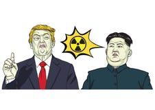 Donald Trump Vs Kim-het Kernteken van de jong-V.N. Vector beeldverhaalillustratie 17 oktober, 2017 Royalty-vrije Stock Foto's