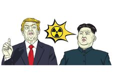 Donald Trump Vs Kim Jong-un Nuclear Sign. Vector Cartoon Illustration. October 17, 2017 Royalty Free Stock Photos
