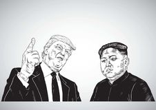 Donald Trump Vs Kim Jong-un. Vector Portrait Drawing Illustration. October 31, 2017 Stock Photo
