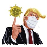 Donald Trump Wearing Mask Anti Corona Virus Covid 19 on Face Cartoon Vector Illustration. March 17 , 2020