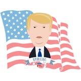 Donald Trump y la bandera americana Imagen de archivo libre de regalías