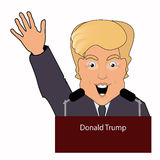 Donald Trumpthe president a smile  hand up the victory elections of 2016 gives to he an interview behind  tribune. On the white se Royalty Free Stock Photography