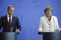 Donald Tusk, Angela Merkel Royalty Free Stock Image