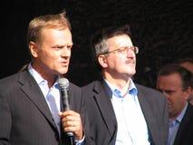 Donald Tusk e Bronislaw Komorowski foto de stock