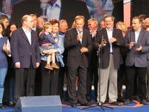 Donald Tusk e líderes da plataforma civil Fotografia de Stock