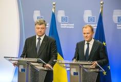 Donald Tusk en Petro Poroshenko Stock Foto