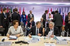 Donald Tusk et Jean-Claude Juncker Image libre de droits