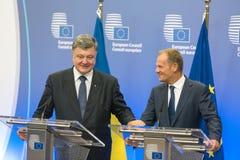 Donald Tusk et Petro Poroshenko Image libre de droits