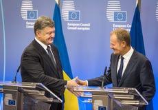 Donald Tusk et Petro Poroshenko Images libres de droits