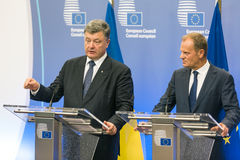 Donald Tusk et Petro Poroshenko Images stock