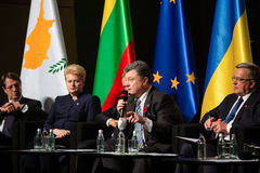 Donald Tusk, Petro Poroshenko, Dalia Grybauskaite, Bronislaw Kom Imagens de Stock Royalty Free