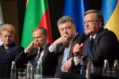 Donald Tusk, Petro Poroshenko, Dalia Grybauskaite, Bronislaw Kom Imagens de Stock