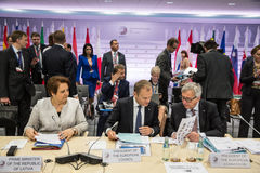 Donald Tusk und Jean-Claude Juncker Lizenzfreies Stockbild