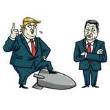 Donald XI. i atut Jinping obcy kreskówki kota ucieczek ilustraci dachu wektor Lipiec 29, 2017 Obraz Stock